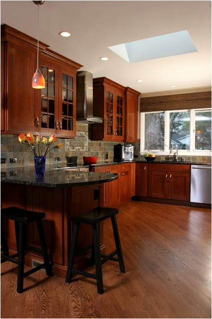 Craftsman Kitchen with Slate Backsplash