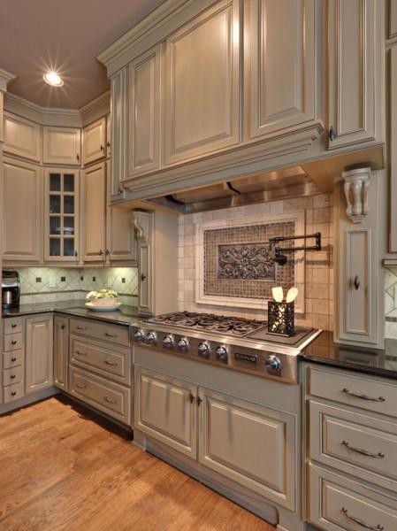 Greige Asian Kitchen Cabinets Design