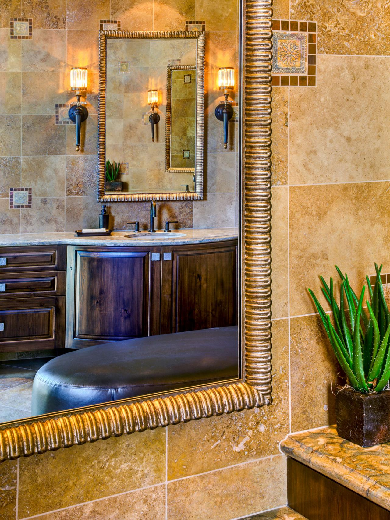 Southwestern Bathroom With Beige Tile Walls