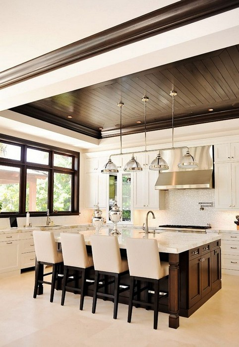 White with Dark Wood Transitional Kitchen Design