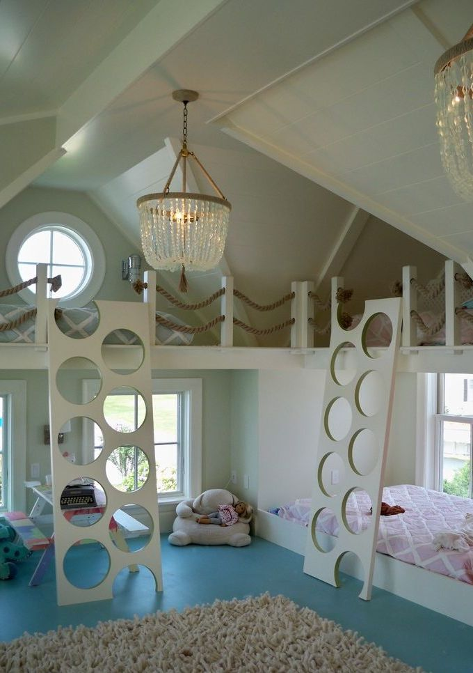 Beach Style Kids Room Design with Lofted Beds