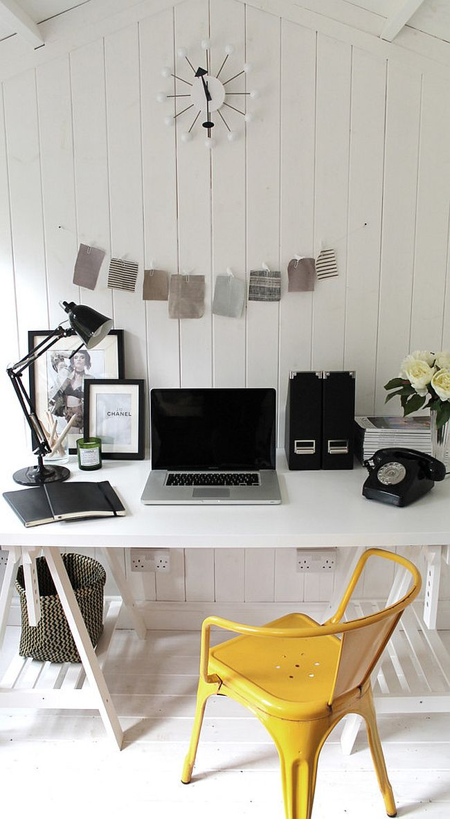Black and White Shabby-Chic Style Home Office Design