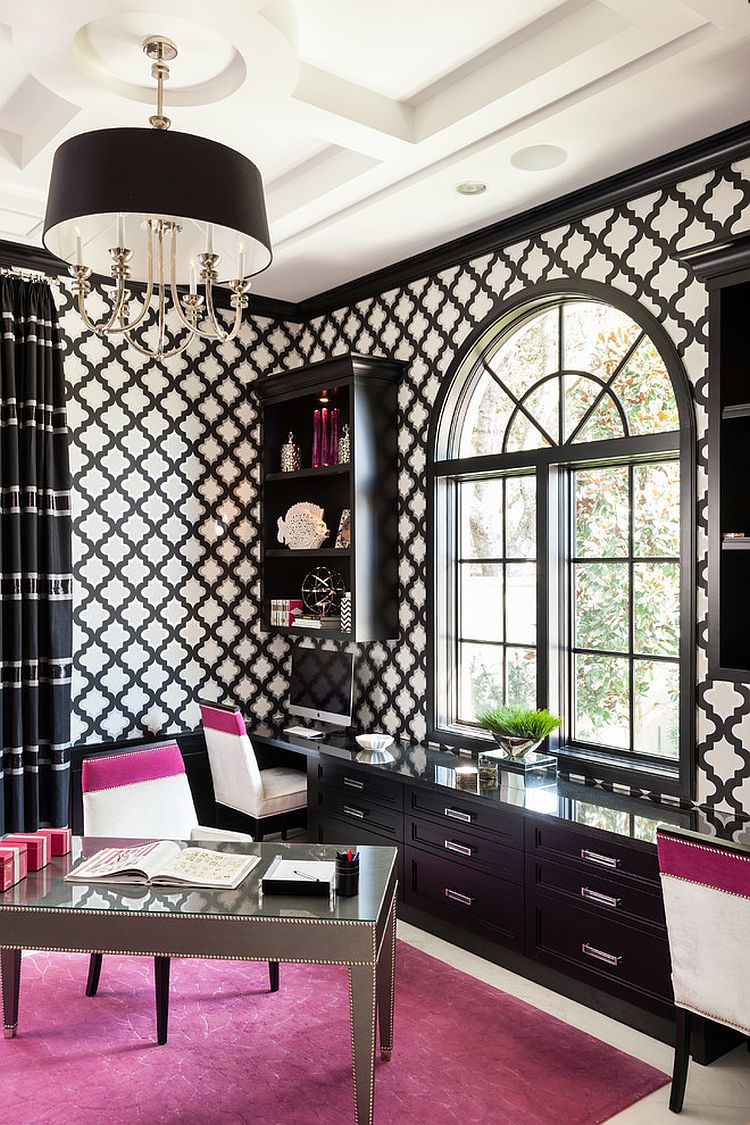 Black and White Transitional Home Office Design