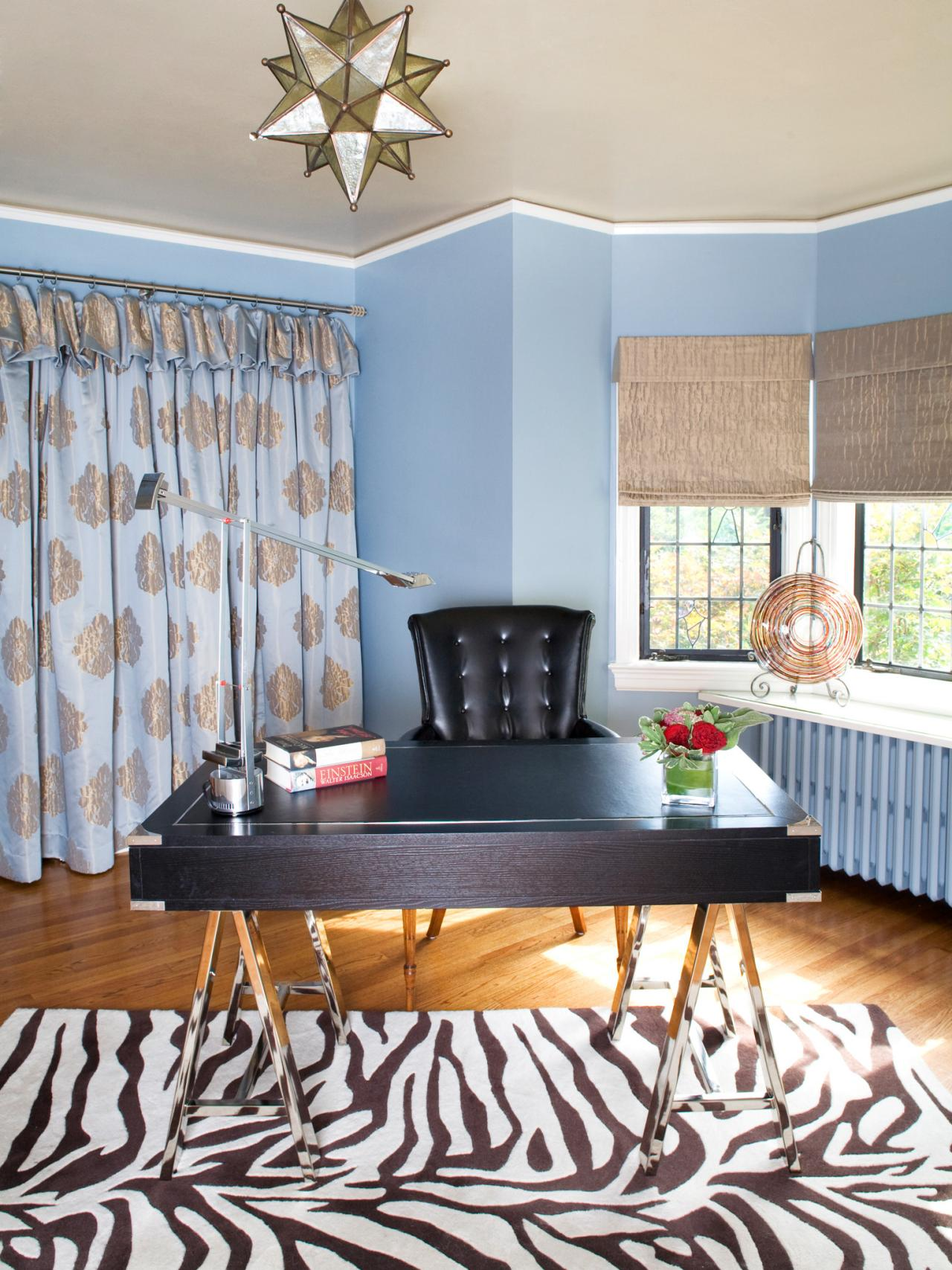 Blue Eclectic Home Office Design Ideas