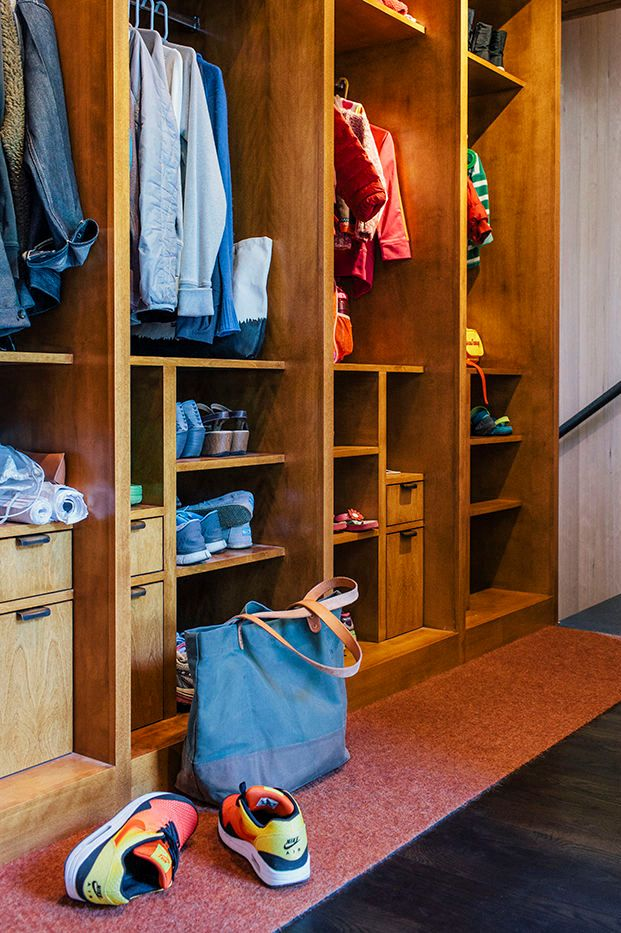 Built-in birch Midcentury Closet Design