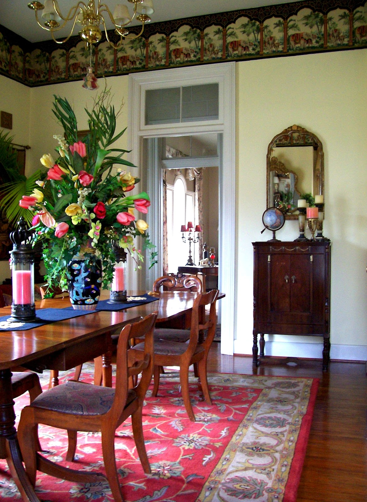 Coral and Yellow Tropical Dining Room Design