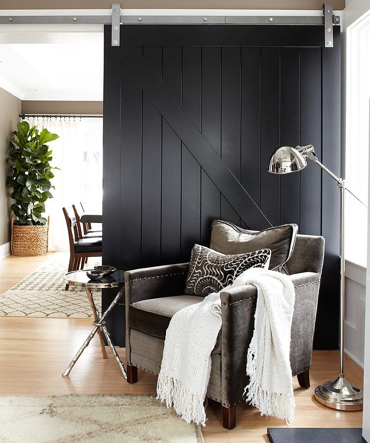 Dark Black Farmhouse Living Room Design