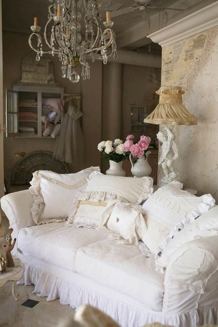 25 shabby chic style living room design ideas decoration. Black Bedroom Furniture Sets. Home Design Ideas