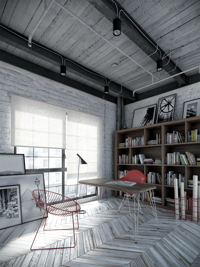 Full Size Industrial Home Office Design