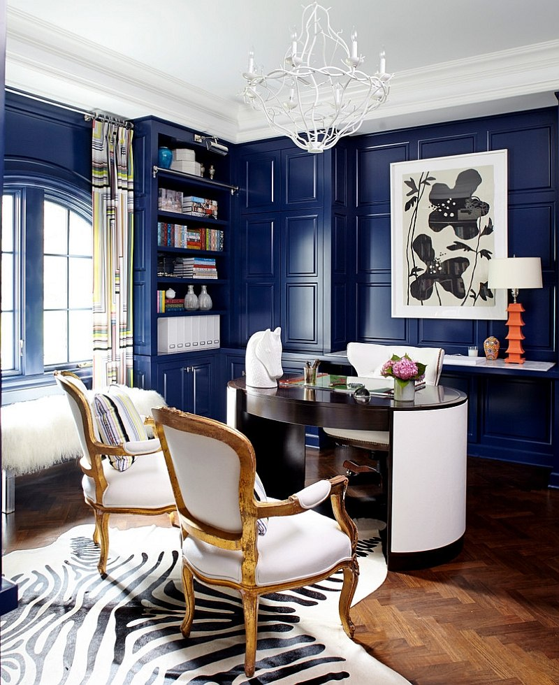 Leather Desk Tropical Home Office Design