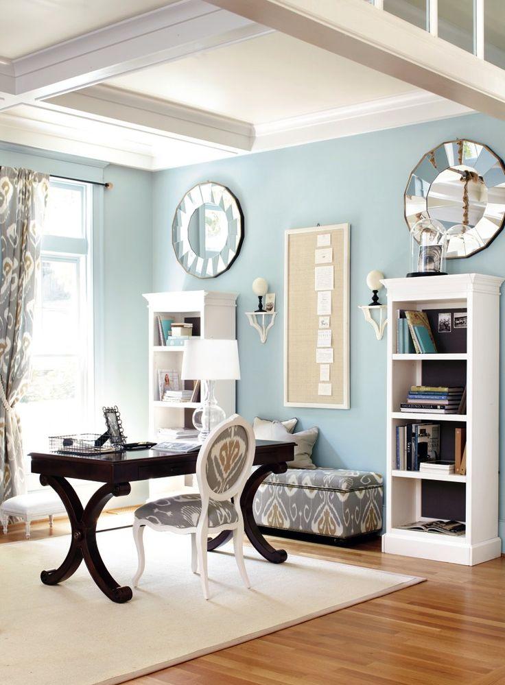 Light Blue Transitional Home Office Design
