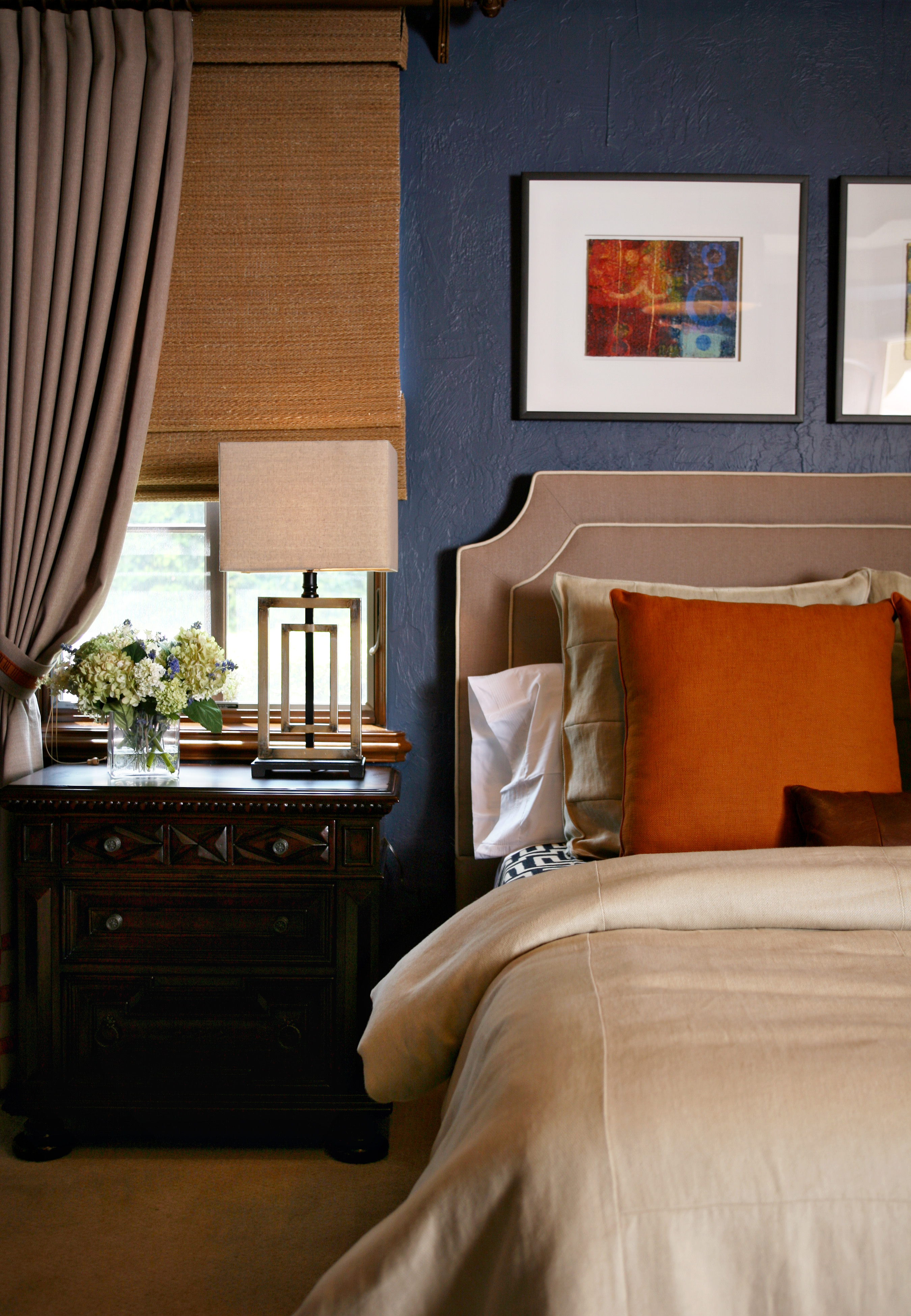 Navy and Orange Traditional Bedroom Design