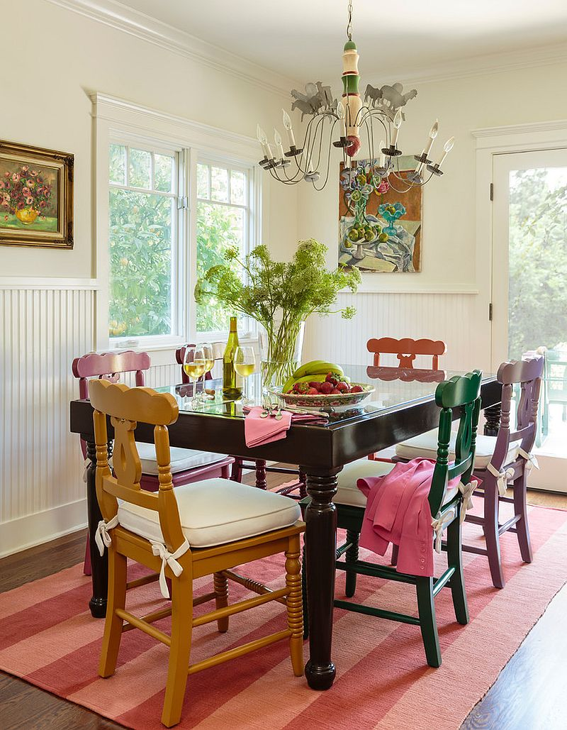 Old Painted Shabby-Chic Style Dining Room Design