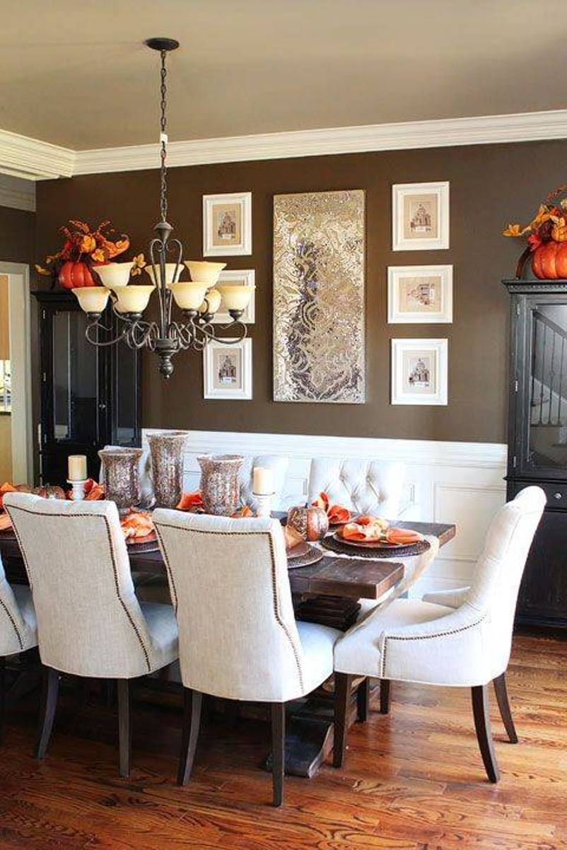 Rustic Dining Room Design with White Chairs