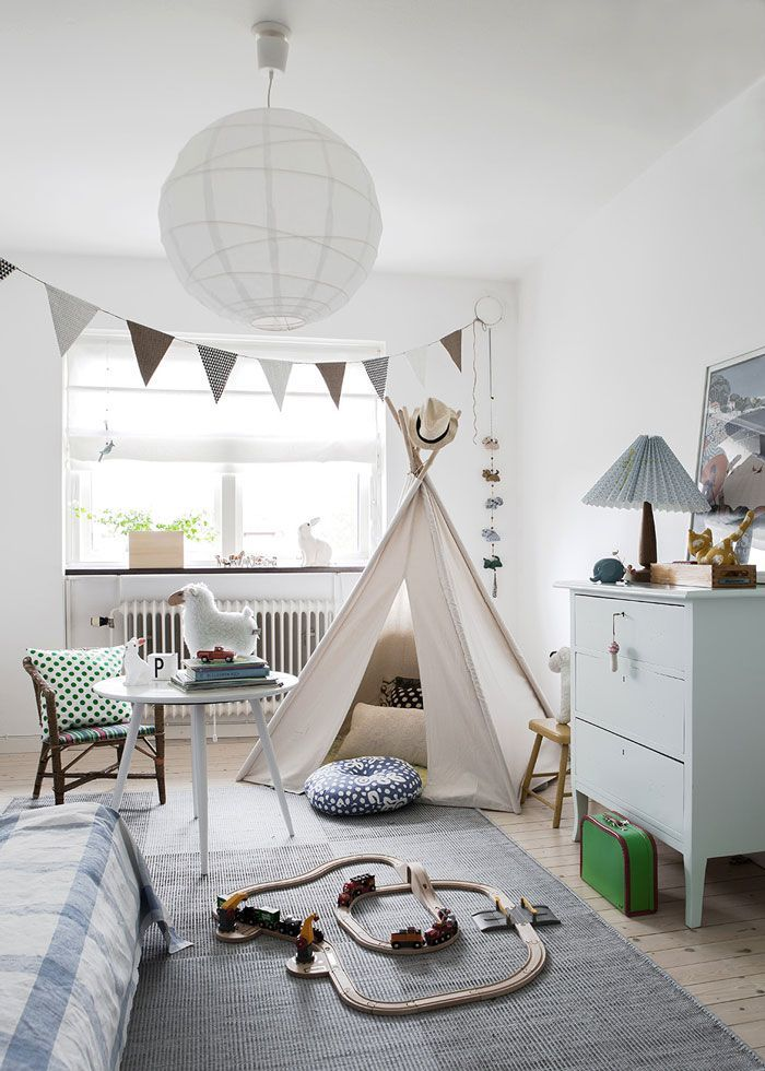 Scandinavian Black White Kids Room