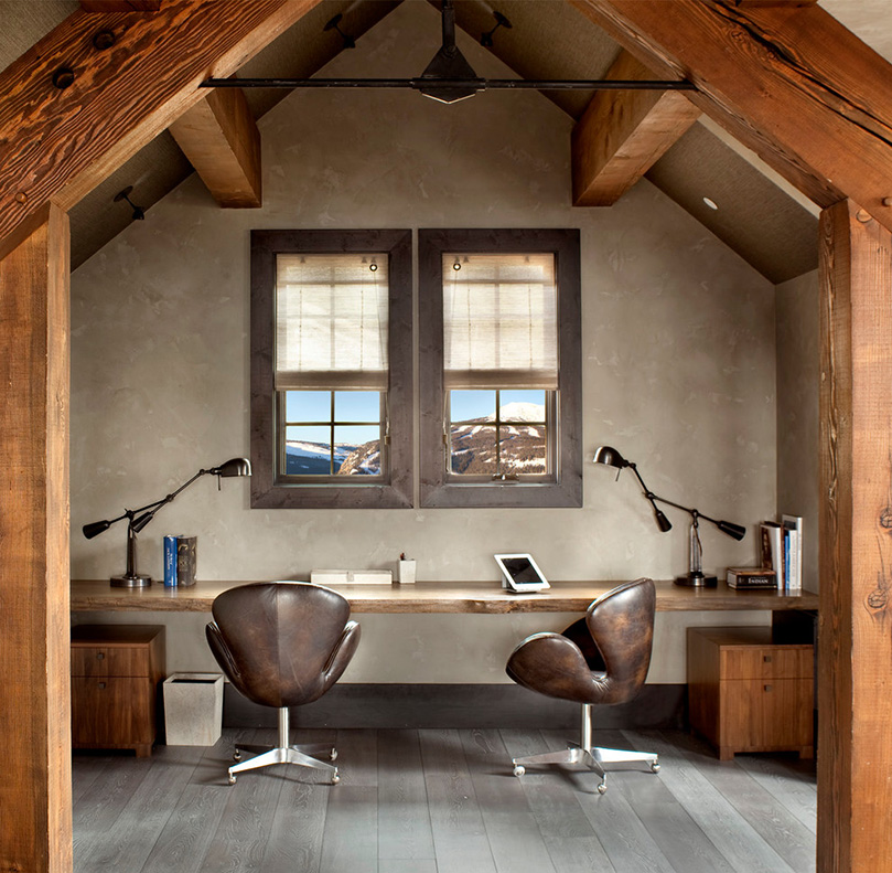 Stunning Rustic Home Office Design
