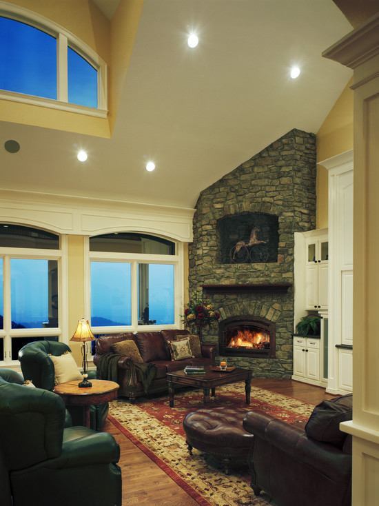 Traditional Living Room Design with Corner Fireplace Design
