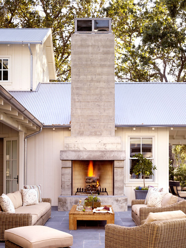 Transitional Outdoor Fireplace Sitting Area Design