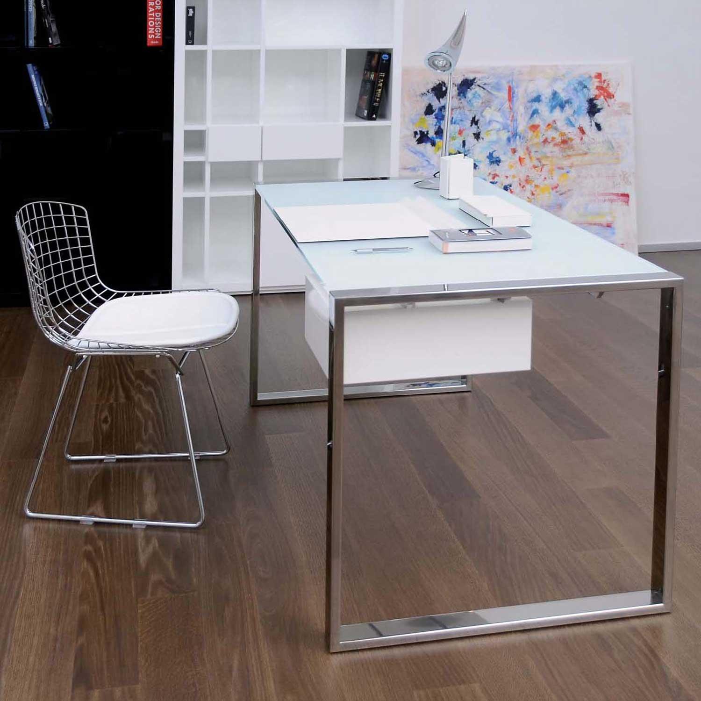 White Craftsman Home Office Design