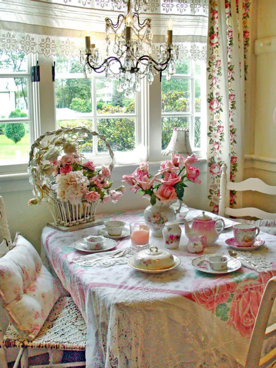 25 shabby chic style dining room design ideas decoration for Decoration jardin shabby