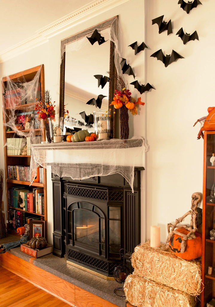 Fireplace Halloween Decorations With Bat