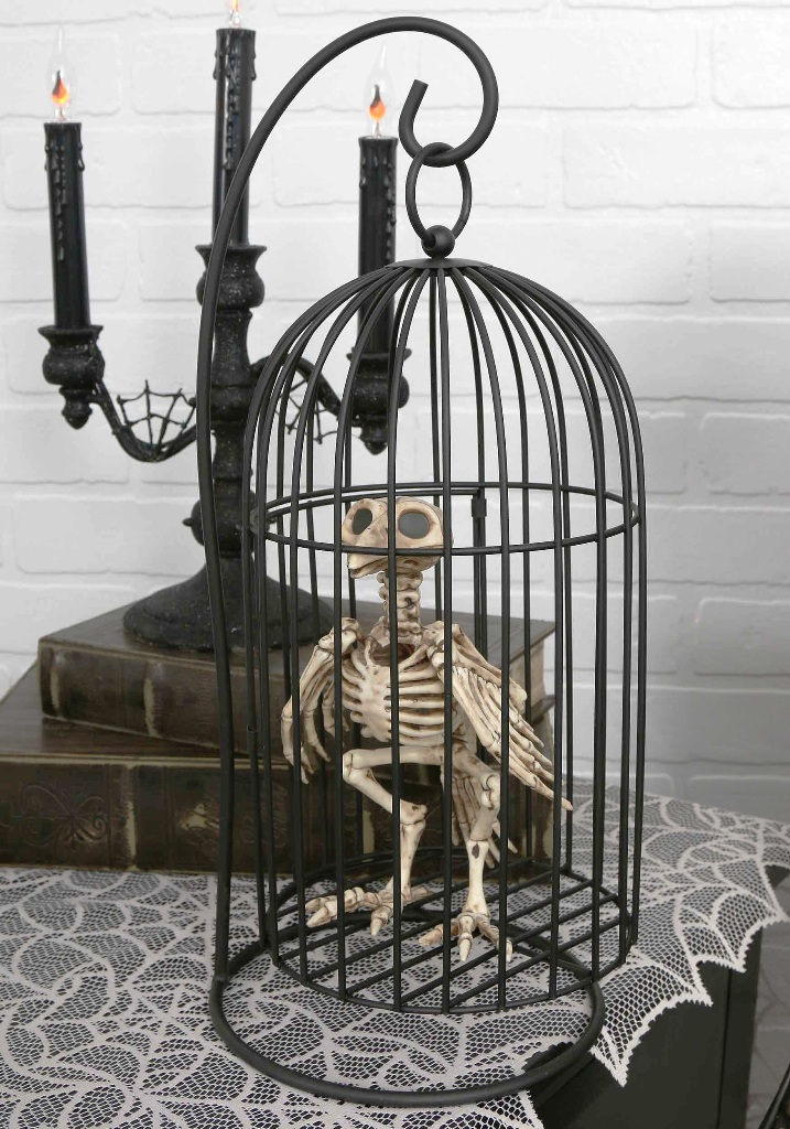 Skeleton Bird in Cage Pretty Halloween Decorations Ideas