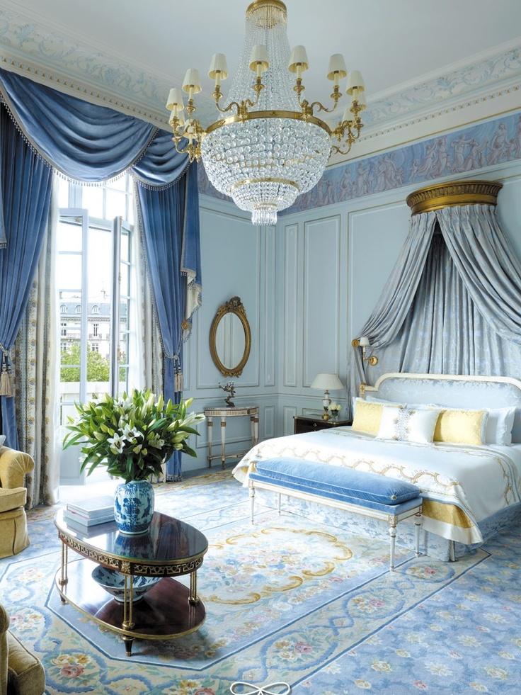 Blue French Hotel Bedroom Design