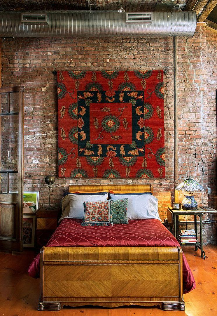 Cozy Bedroom Design With Brick Wall