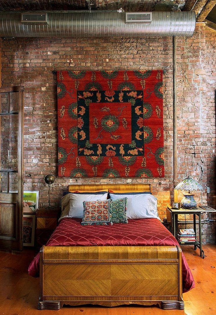 Cozy Bedroom Design With Brick Wall