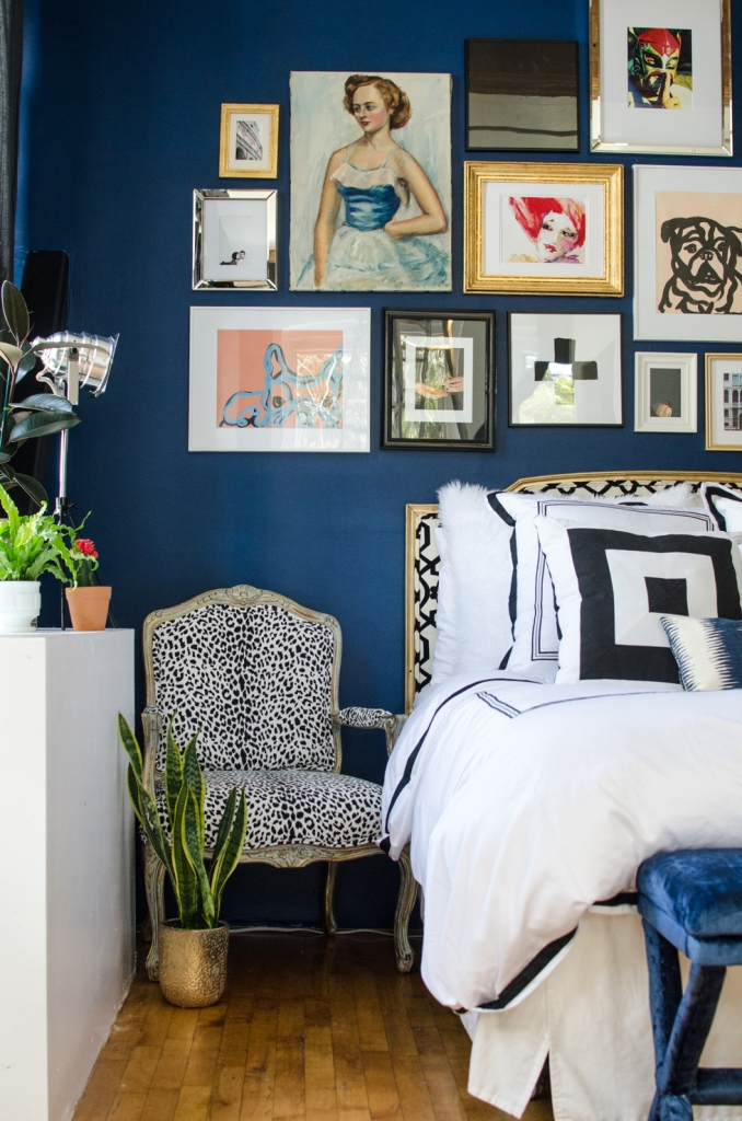 Eclectic Bedroom with Bold Gallery Wall