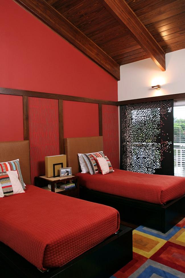 Trendy Modern Red Bedroom Design