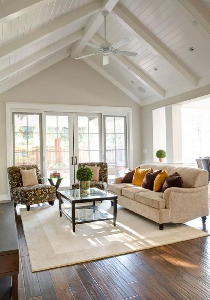 Vaulted Ceilings Beach Style Basement Design