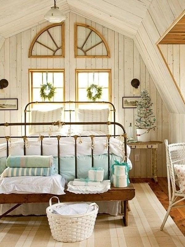wooden attic bedroom interior design