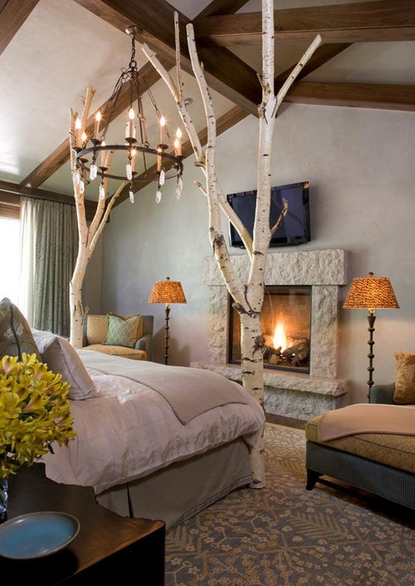 Birch Tree Romantic Bedroom Design Decoration Love