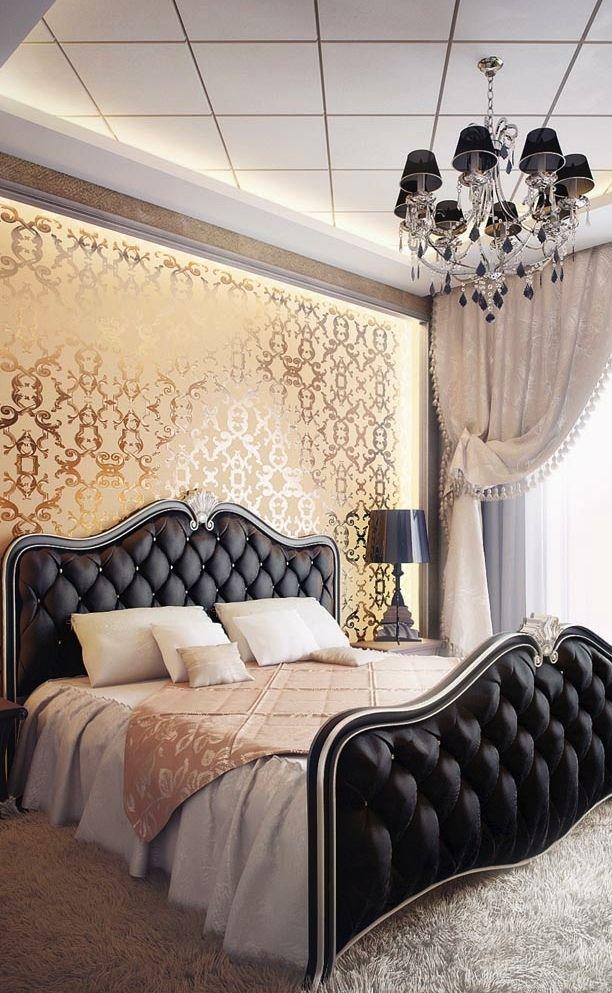 Black and Gold Luxury Bedroom Design