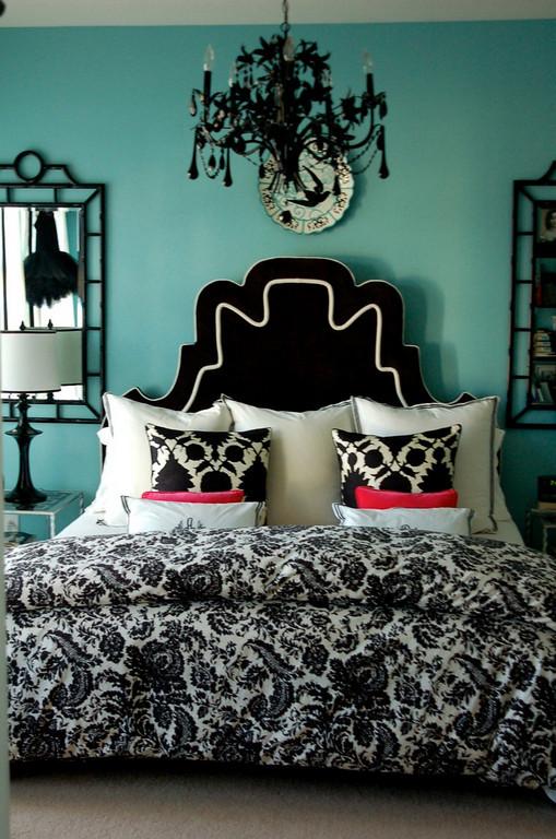 Black and Teal Bedroom