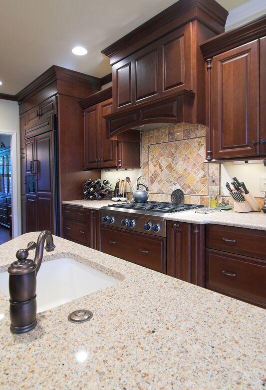 Dark Cherry Wood Kitchen Cabinets Design