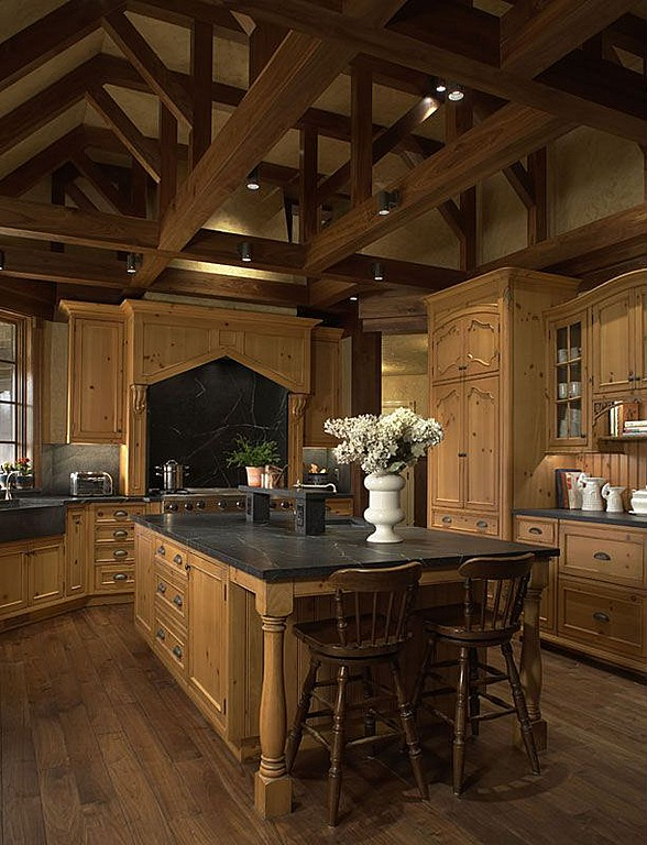Dark Hardwood Floors with Wood Ceiling Beams