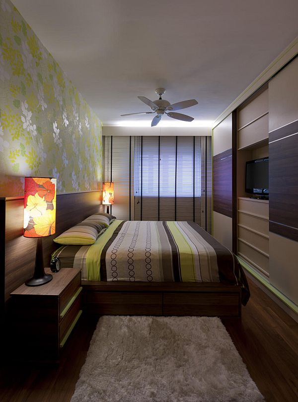 Long Narrow Bedroom Design Ideas With Flower Wall design