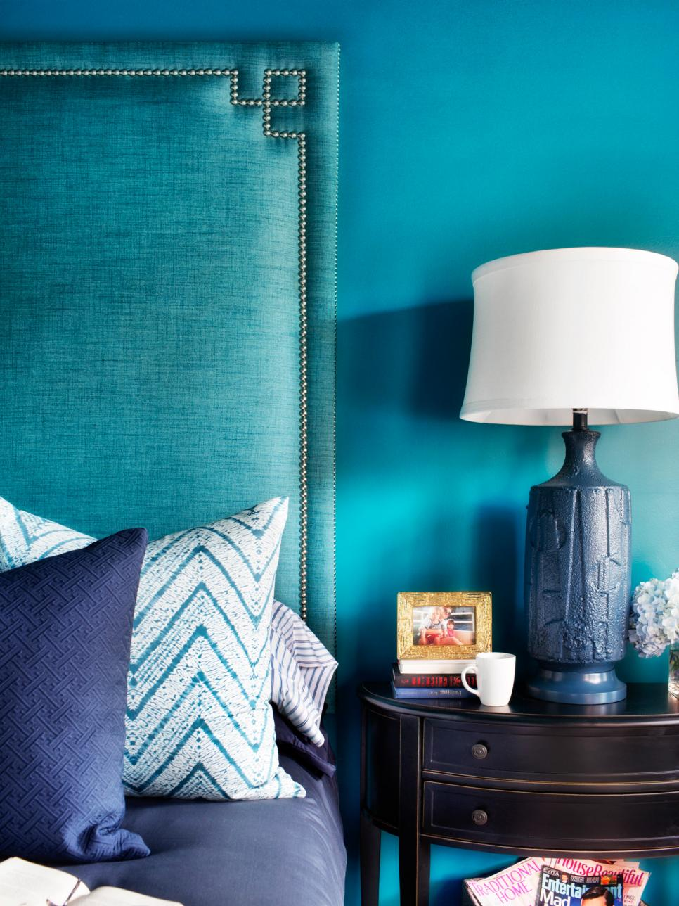 Navy Blue and Teal Master Bedroom