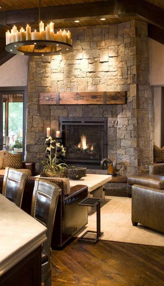 Rustic Family Room Designs with Fireplace