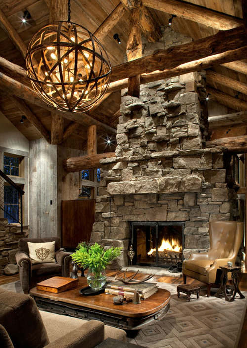Rustic Living Room Designs with Fireplaces