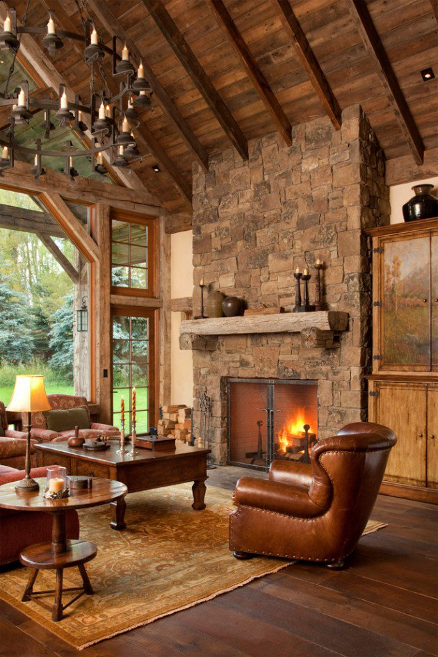 Rustic Living Room with Fireplace Ideas
