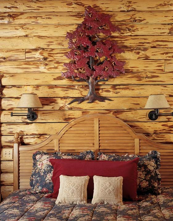 Rustic Log Cabin Master Country Bedroom Design