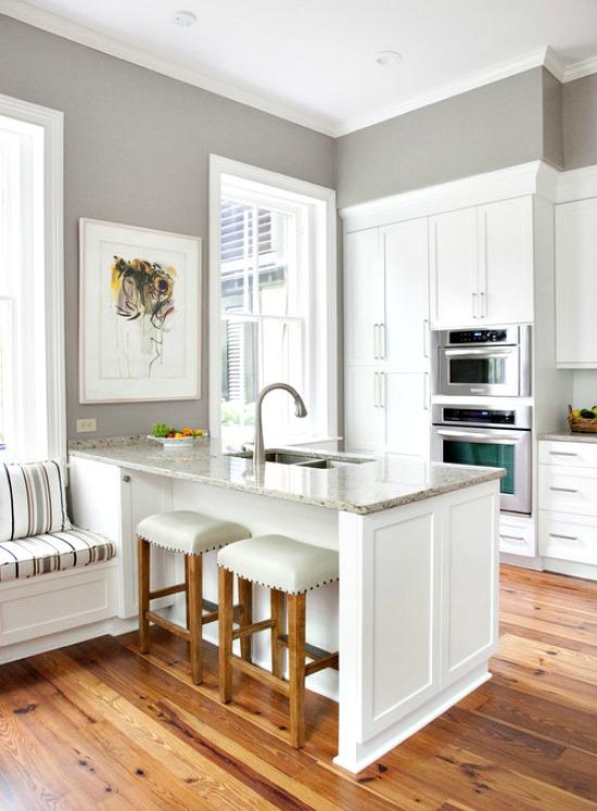 White Kitchen Gray Walls Wood Floors