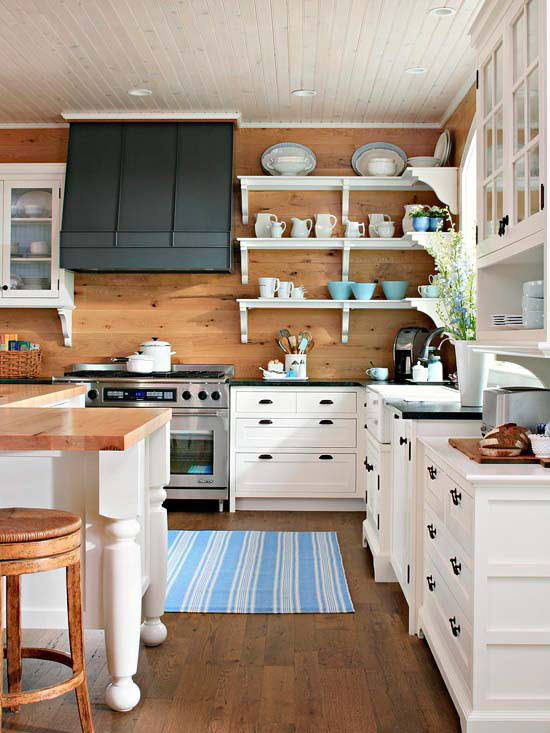 White Wood Plank Walls Kitchen