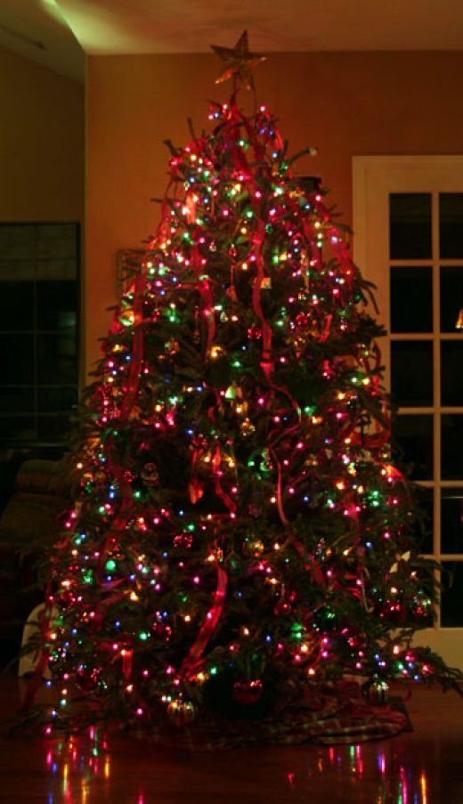 Christmas Tree Decorations with Colored Lights