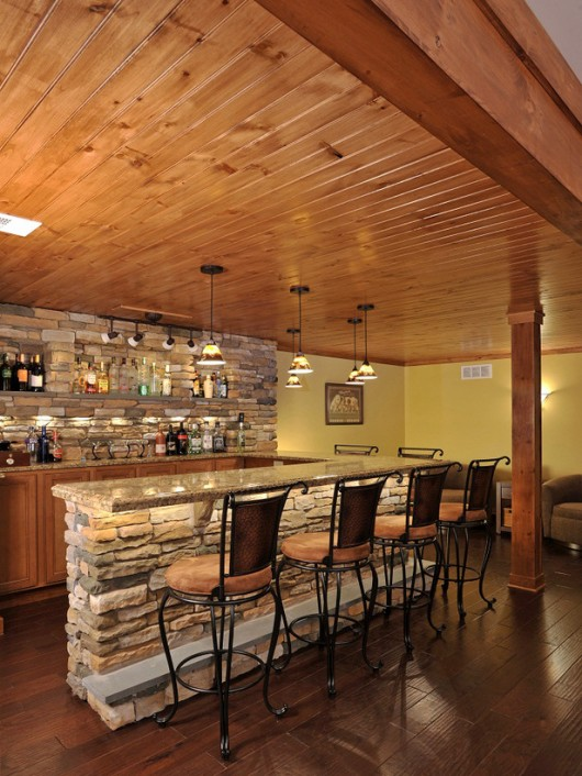 Corner Bar Design Ideas for Basement