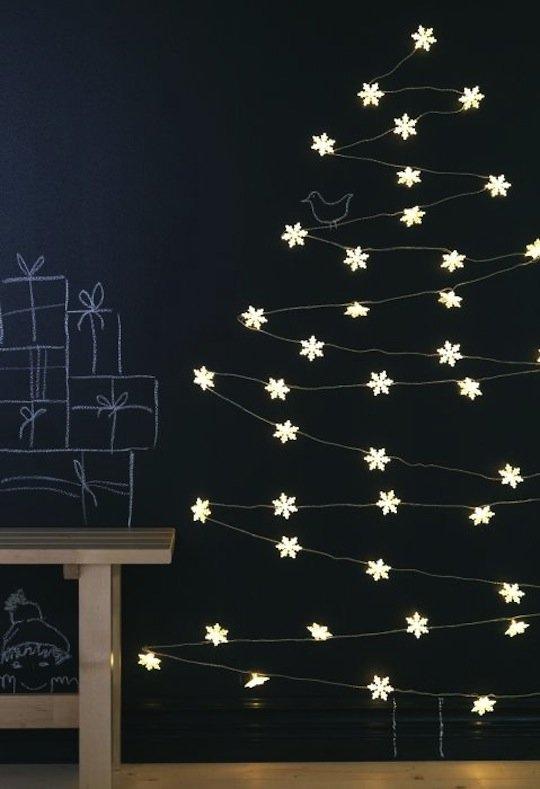 DIY Wall Christmas Tree with Lights