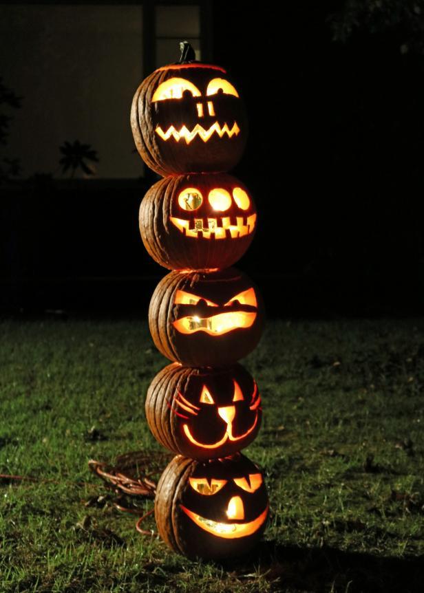 Halloween Pumpkin Totem Pole Decorations